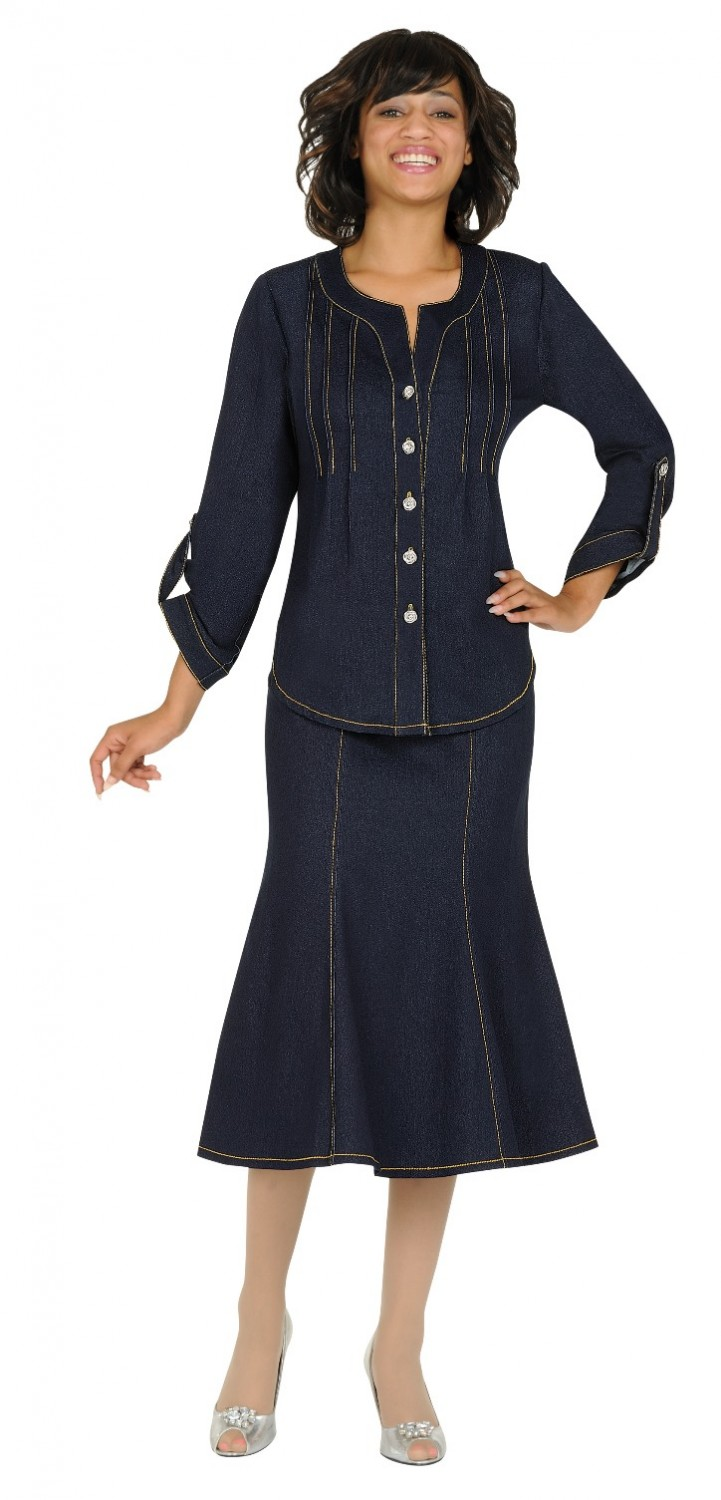 ds50092 soft stretch denim skirt suit apparal inc